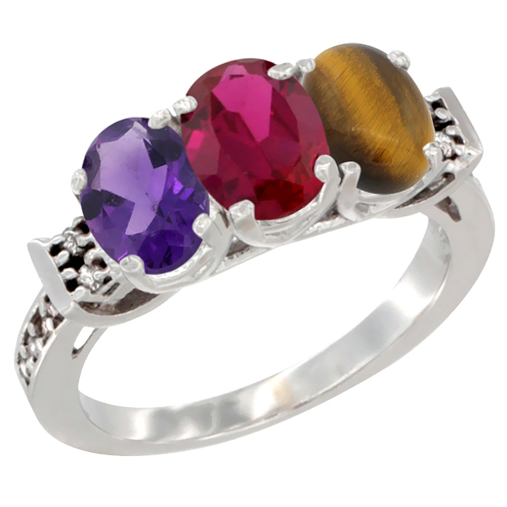 10K White Gold Natural Amethyst, Enhanced Ruby & Natural Tiger Eye Ring 3-Stone Oval 7x5 mm Diamond Accent, sizes 5 - 10