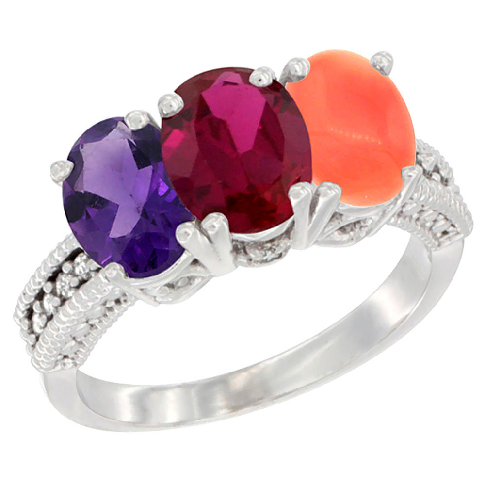 10K White Gold Natural Amethyst, Enhanced Ruby & Natural Coral Ring 3-Stone Oval 7x5 mm Diamond Accent, sizes 5 - 10