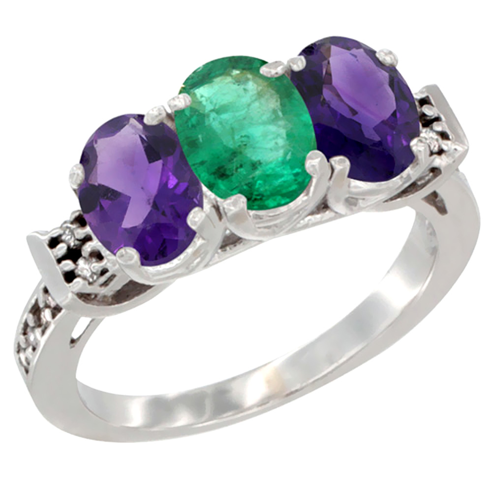 14K White Gold Natural Emerald & Amethyst Sides Ring 3-Stone 7x5 mm Oval Diamond Accent, sizes 5 - 10