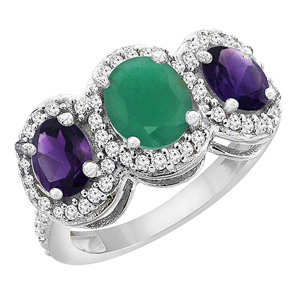 14K White Gold Natural Emerald & Amethyst 3-Stone Ring Oval Diamond Accent, sizes 5 - 10