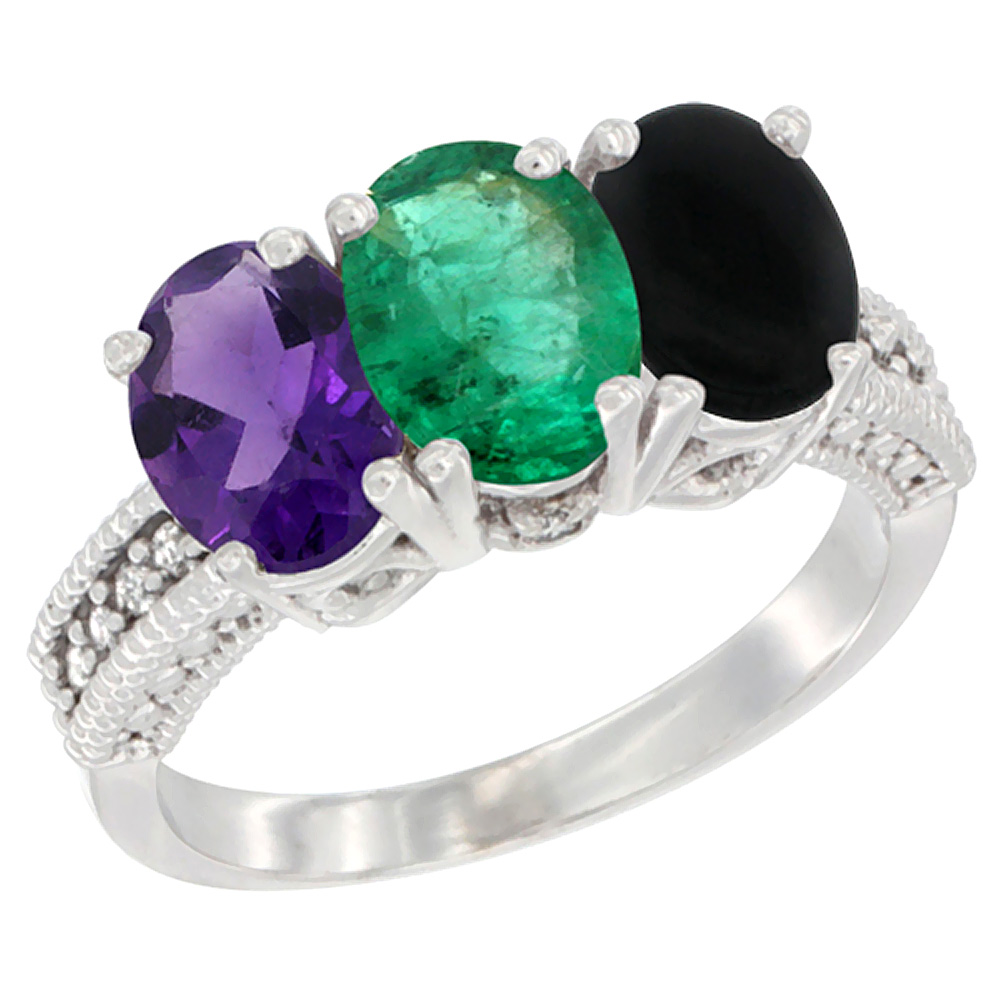 10K White Gold Natural Amethyst, Emerald & Black Onyx Ring 3-Stone Oval 7x5 mm Diamond Accent, sizes 5 - 10