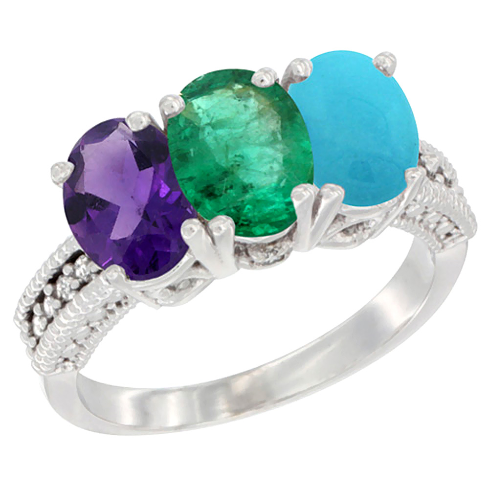 14K White Gold Natural Amethyst, Emerald & Turquoise Ring 3-Stone 7x5 mm Oval Diamond Accent, sizes 5 - 10