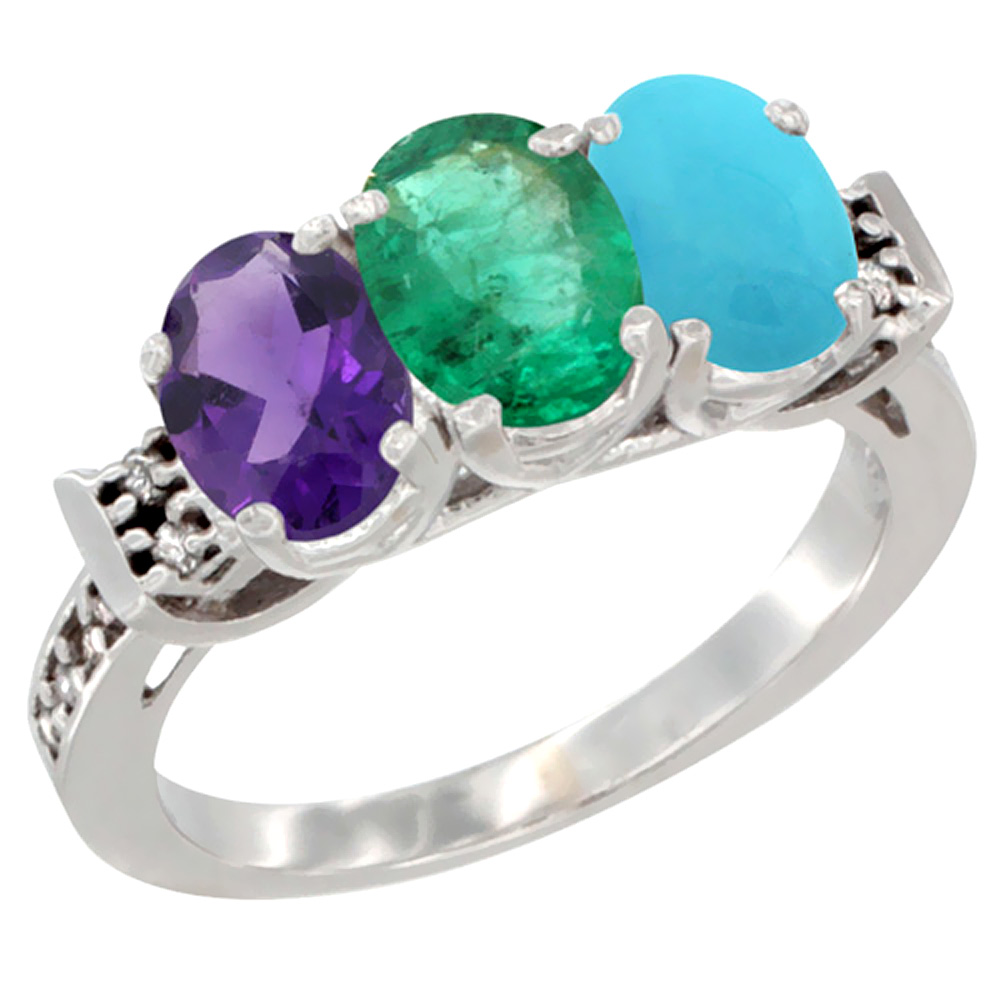 10K White Gold Natural Amethyst, Emerald & Turquoise Ring 3-Stone Oval 7x5 mm Diamond Accent, sizes 5 - 10