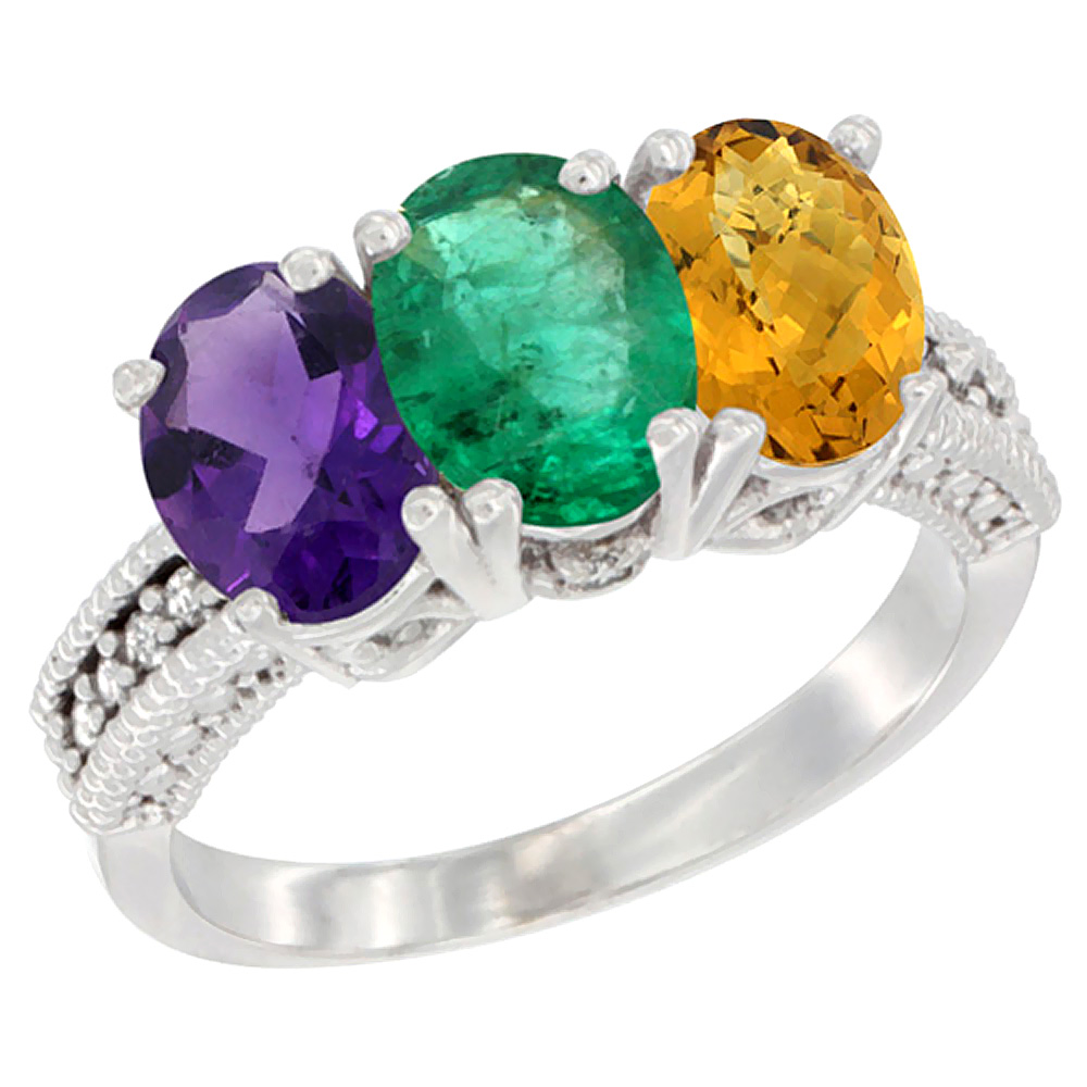 14K White Gold Natural Amethyst, Emerald & Whisky Quartz Ring 3-Stone 7x5 mm Oval Diamond Accent, sizes 5 - 10