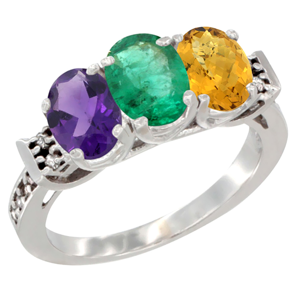 10K White Gold Natural Amethyst, Emerald & Whisky Quartz Ring 3-Stone Oval 7x5 mm Diamond Accent, sizes 5 - 10