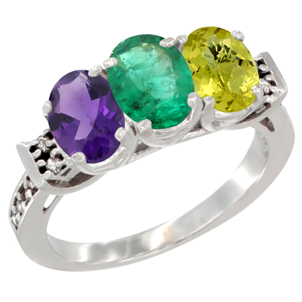 10K White Gold Natural Amethyst, Emerald & Lemon Quartz Ring 3-Stone Oval 7x5 mm Diamond Accent, sizes 5 - 10