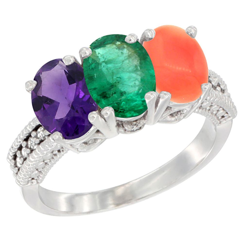 10K White Gold Natural Amethyst, Emerald & Coral Ring 3-Stone Oval 7x5 mm Diamond Accent, sizes 5 - 10
