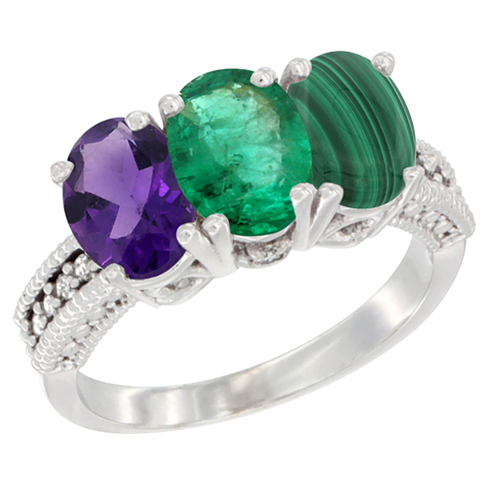 14K White Gold Natural Amethyst, Emerald & Malachite Ring 3-Stone 7x5 mm Oval Diamond Accent, sizes 5 - 10