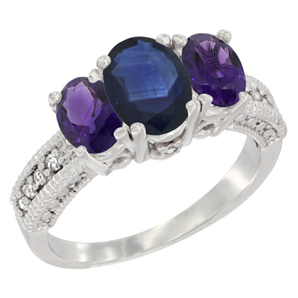 10K White Gold Diamond Natural Blue Sapphire Ring Oval 3-stone with Amethyst, sizes 5 - 10