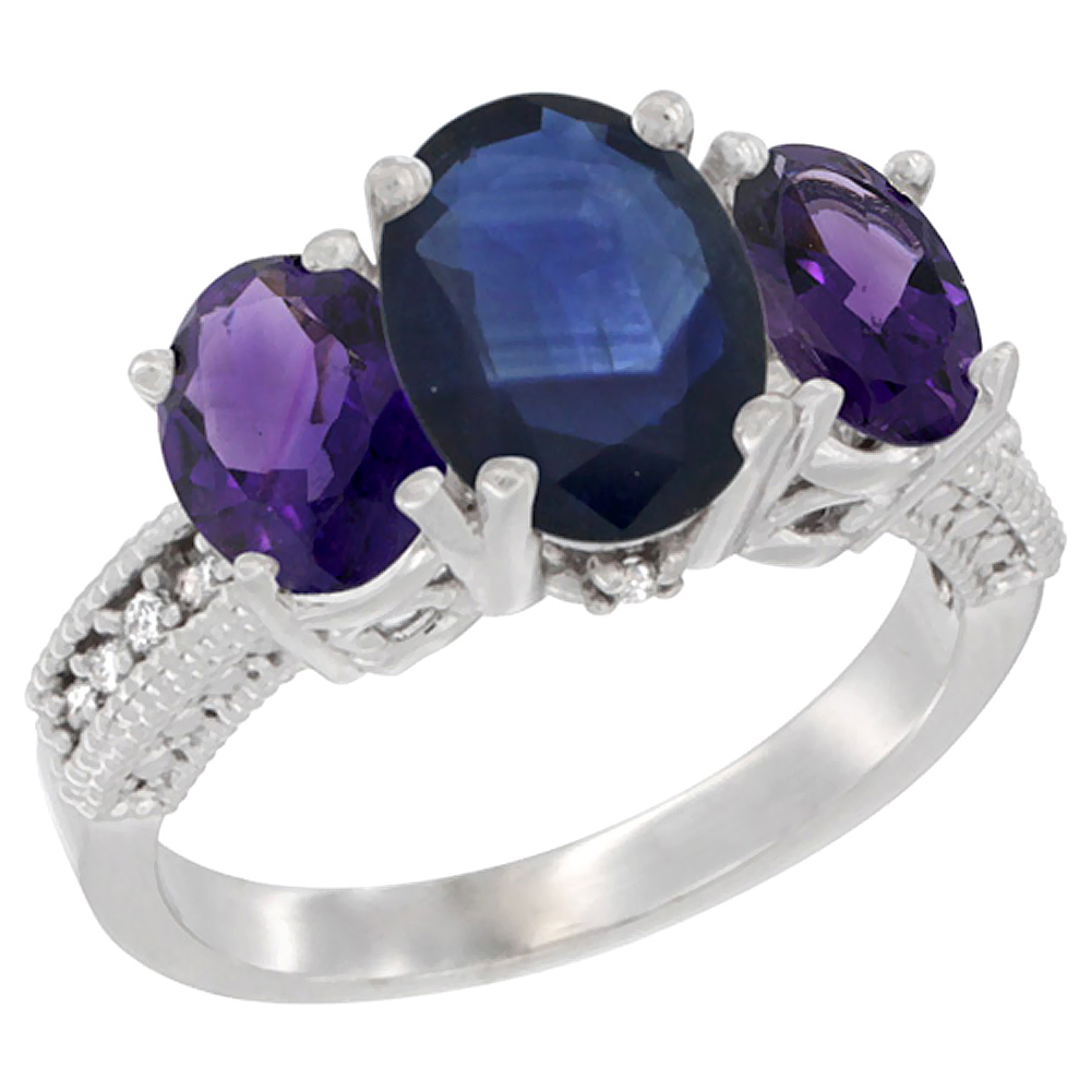 10K White Gold Diamond Natural Blue Sapphire Ring 3-Stone Oval 8x6mm with Amethyst, sizes5-10