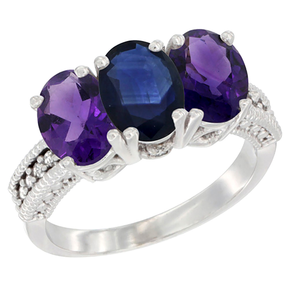 14K White Gold Natural Blue Sapphire & Amethyst Ring 3-Stone 7x5 mm Oval Diamond Accent, sizes 5 - 10