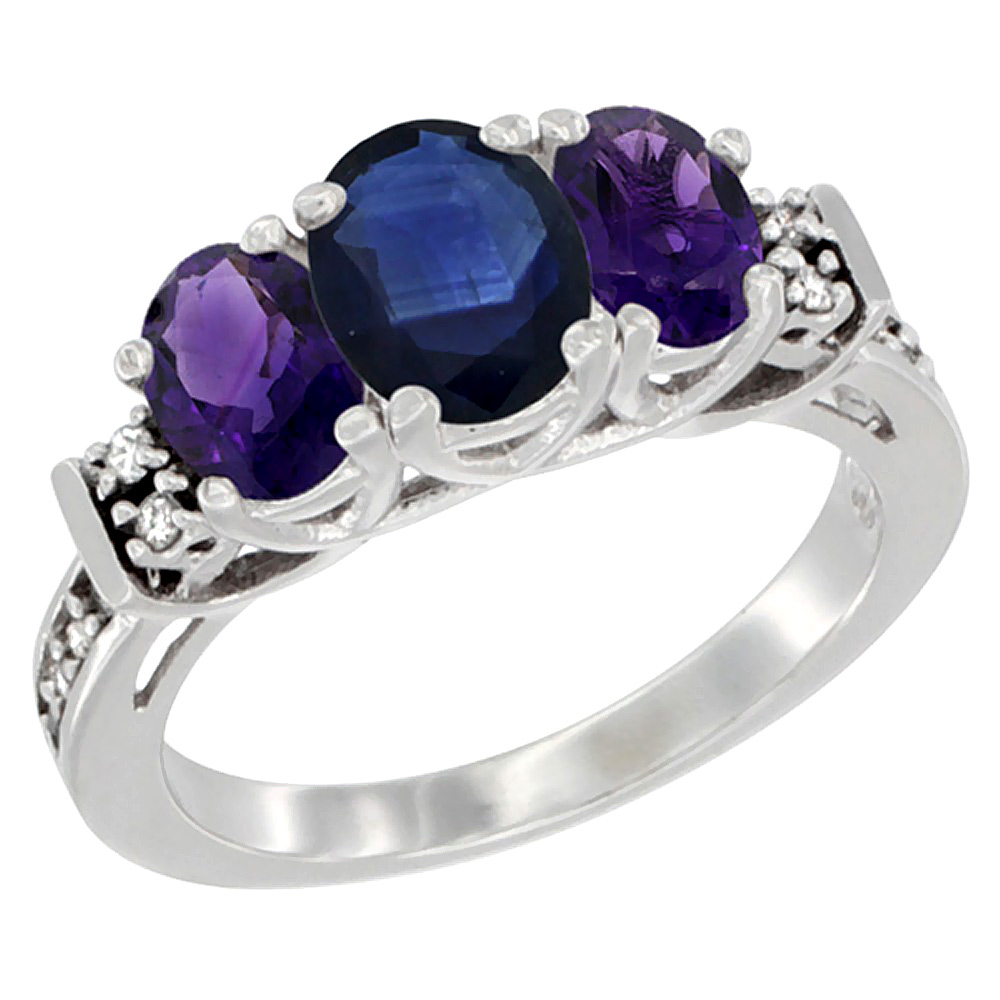 10K White Gold Natural Blue Sapphire & Amethyst Ring 3-Stone Oval Diamond Accent, sizes 5-10