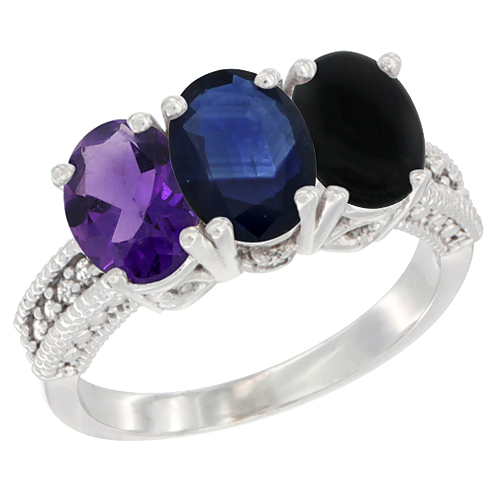 10K White Gold Natural Amethyst, Blue Sapphire & Black Onyx Ring 3-Stone Oval 7x5 mm Diamond Accent, sizes 5 - 10