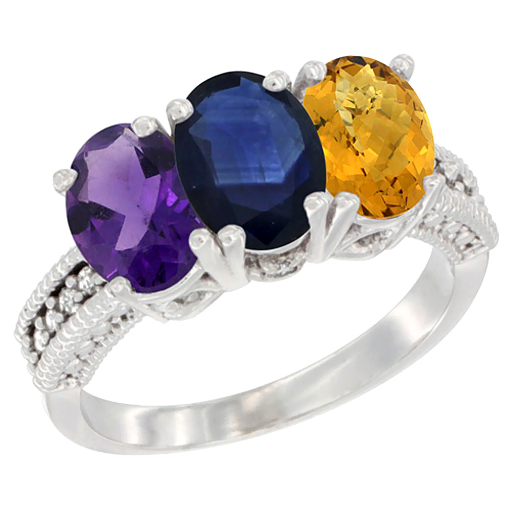 14K White Gold Natural Amethyst, Blue Sapphire & Whisky Quartz Ring 3-Stone 7x5 mm Oval Diamond Accent, sizes 5 - 10