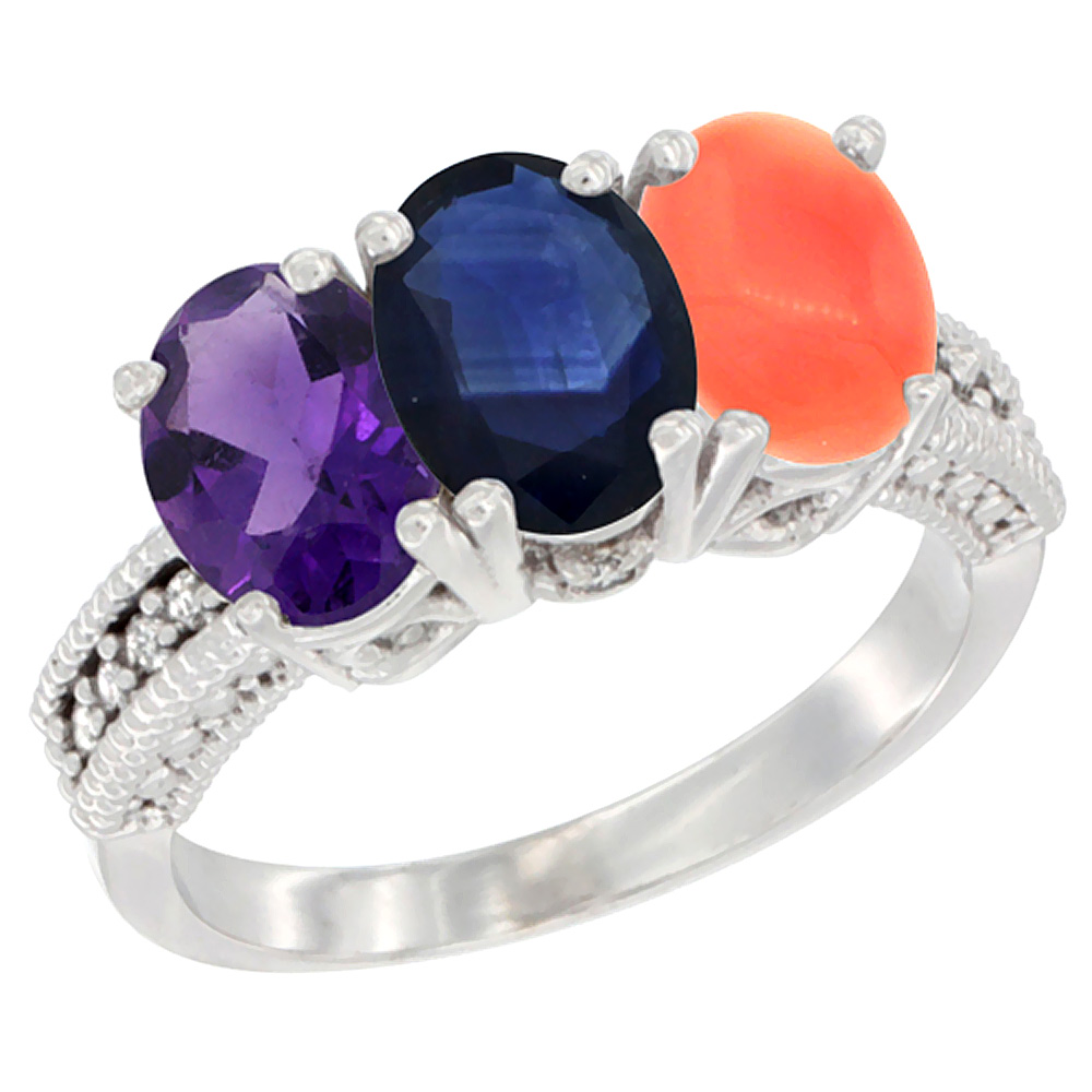 14K White Gold Natural Amethyst, Blue Sapphire & Coral Ring 3-Stone 7x5 mm Oval Diamond Accent, sizes 5 - 10