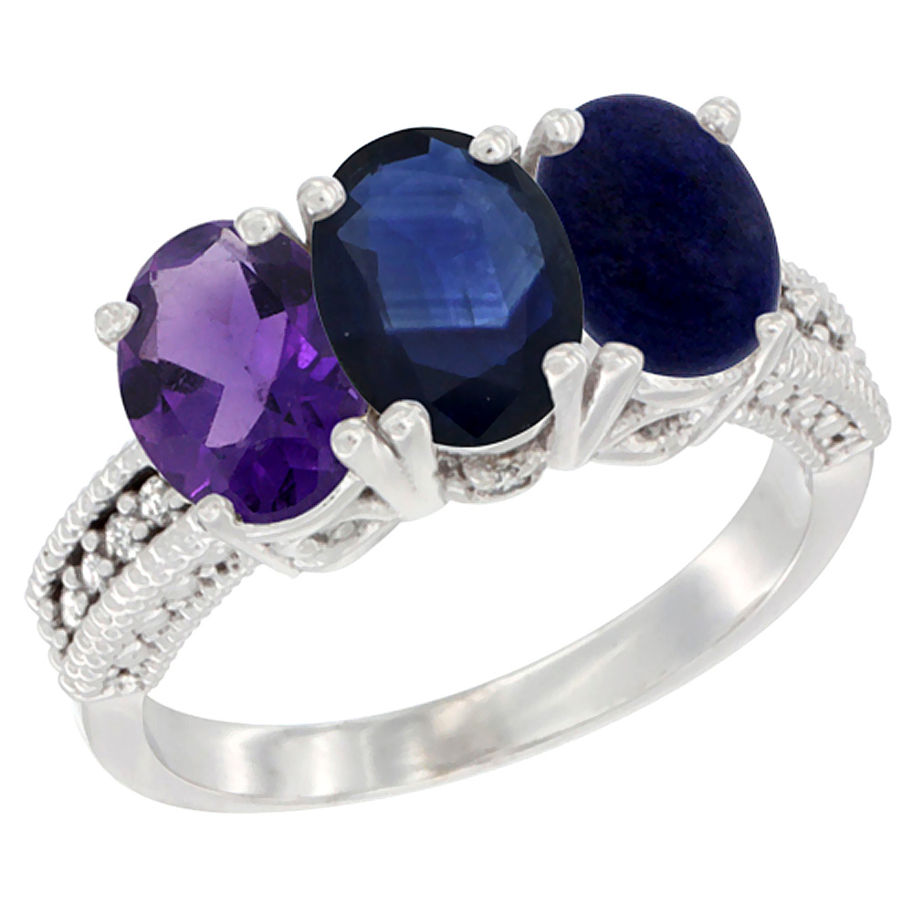14K White Gold Natural Amethyst, Blue Sapphire & Lapis Ring 3-Stone 7x5 mm Oval Diamond Accent, sizes 5 - 10