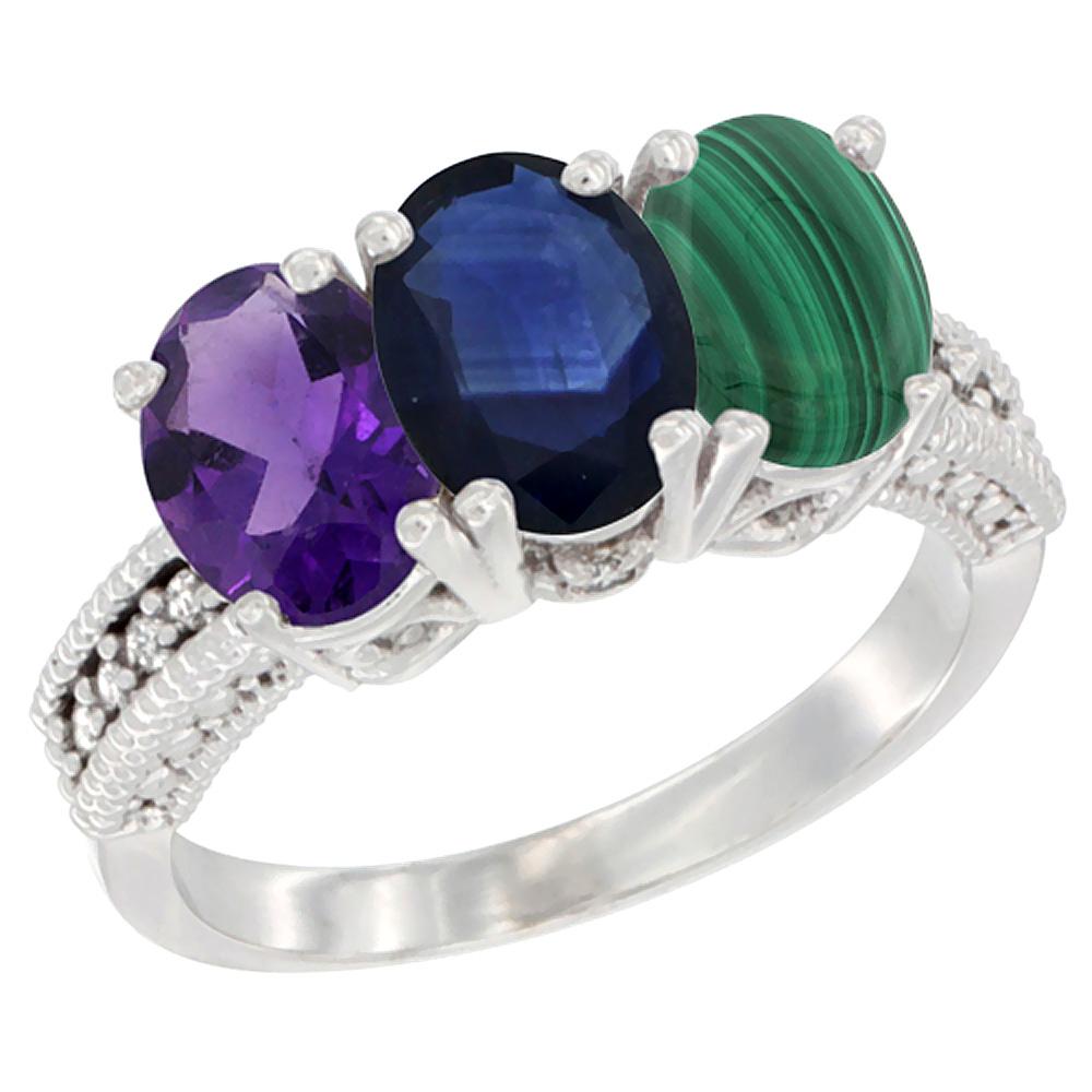 10K White Gold Natural Amethyst, Blue Sapphire & Malachite Ring 3-Stone Oval 7x5 mm Diamond Accent, sizes 5 - 10