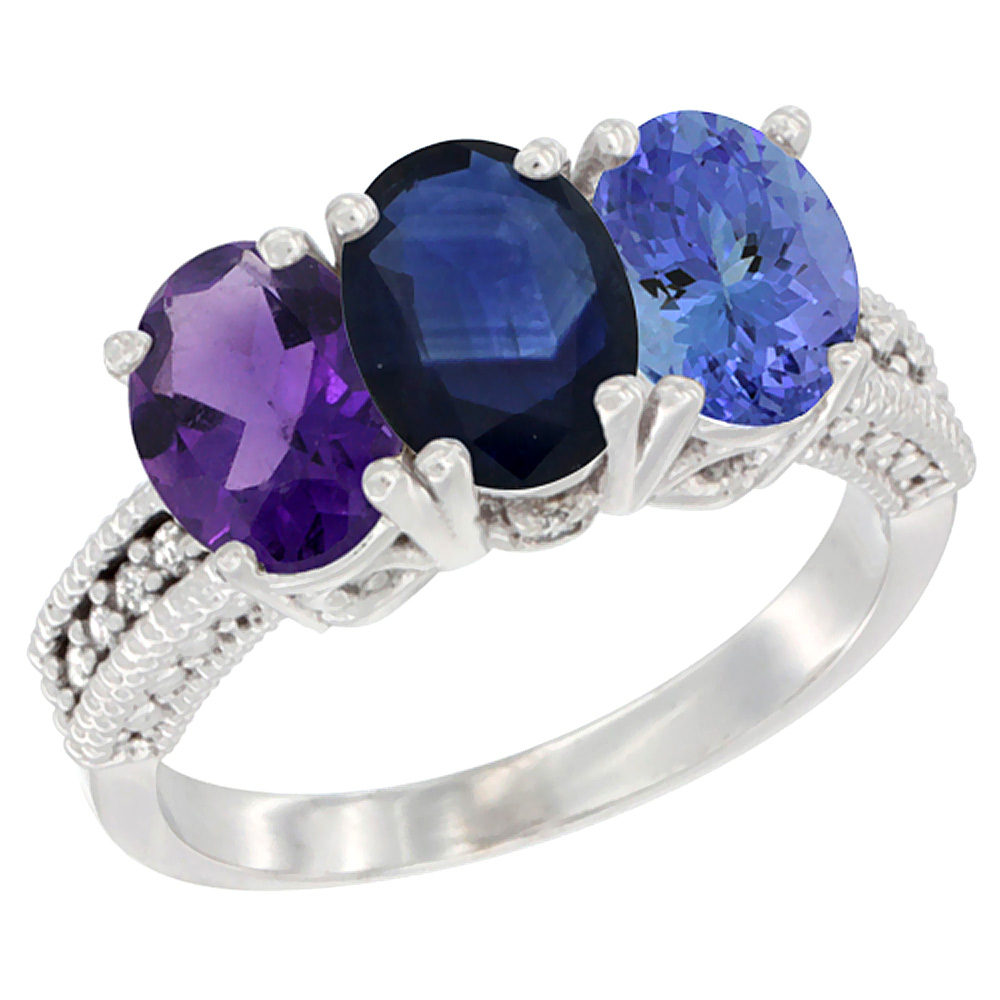 10K White Gold Natural Amethyst, Blue Sapphire & Tanzanite Ring 3-Stone Oval 7x5 mm Diamond Accent, sizes 5 - 10