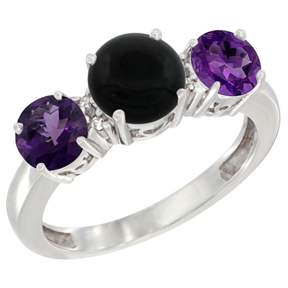 10K White Gold Round 3-Stone Natural Black Onyx Ring & Amethyst Sides Diamond Accent, sizes 5 - 10