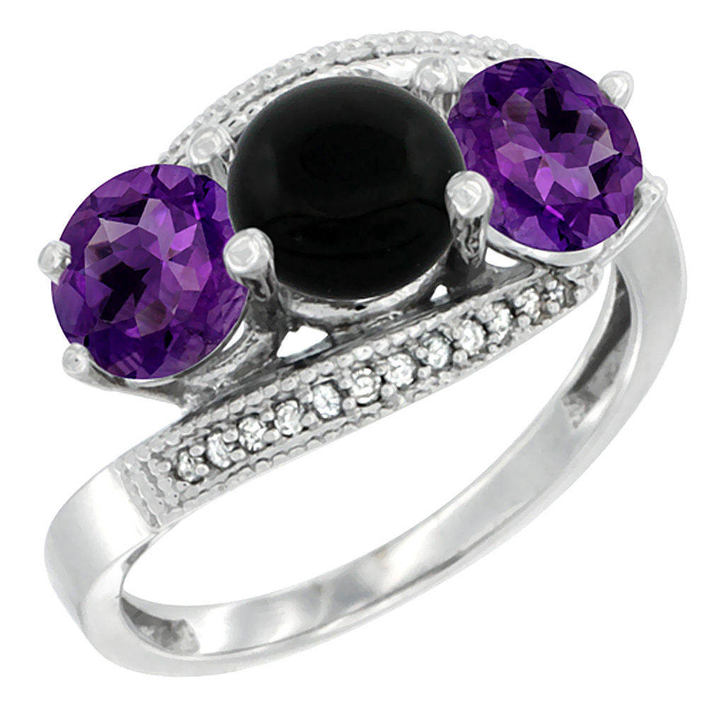 14K White Gold Natural Black Onyx & Amethyst Sides 3 stone Ring Round 6mm Diamond Accent, sizes 5 - 10