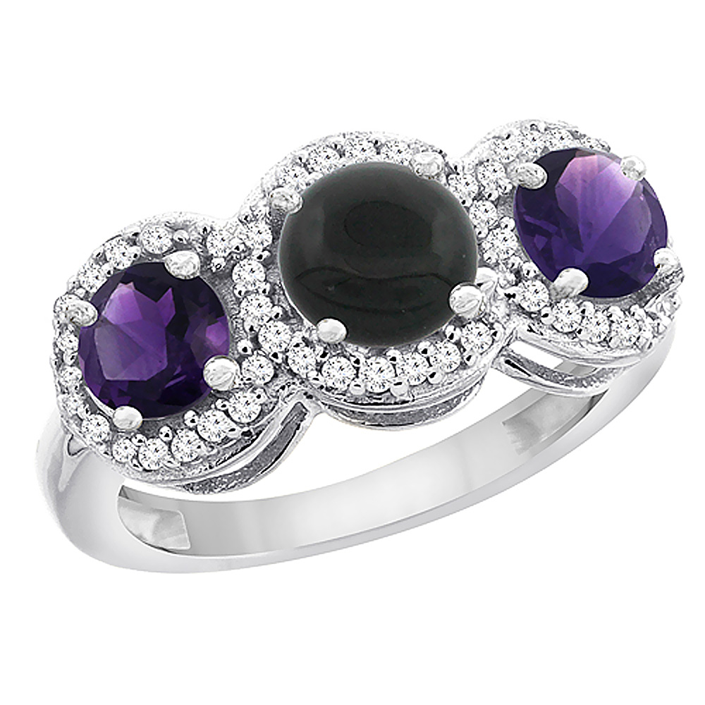 14K White Gold Natural Black Onyx & Amethyst Sides Round 3-stone Ring Diamond Accents, sizes 5 - 10