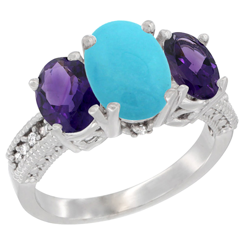 10K White Gold Natural Turquoise Ring Ladies 3-Stone 8x6 Oval with Amethyst Sides Diamond Accent, sizes 5 - 10
