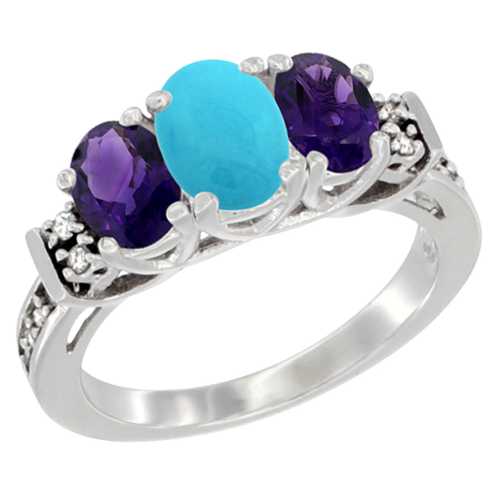14K White Gold Natural Turquoise & Amethyst Ring 3-Stone Oval Diamond Accent, sizes 5-10