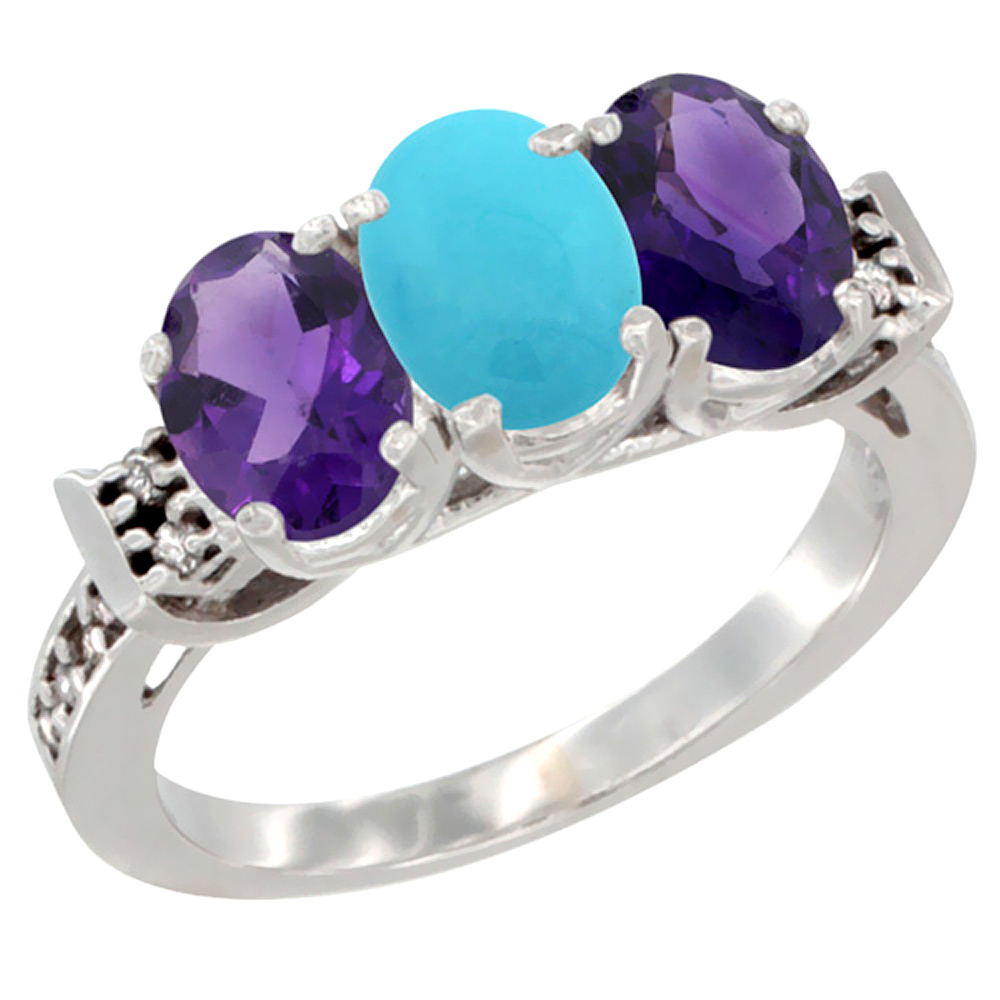 10K White Gold Natural Turquoise & Amethyst Sides Ring 3-Stone Oval 7x5 mm Diamond Accent, sizes 5 - 10