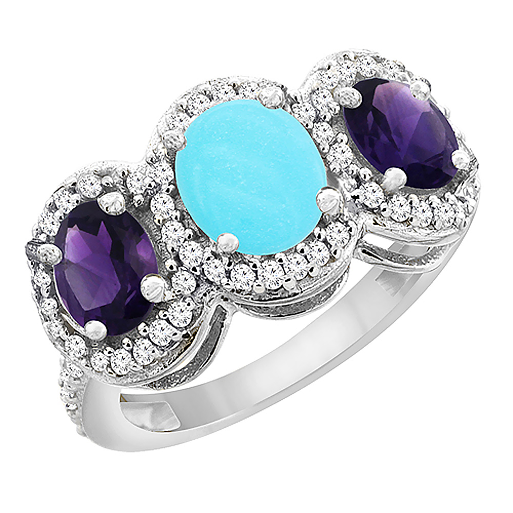 10K White Gold Natural Turquoise & Amethyst 3-Stone Ring Oval Diamond Accent, sizes 5 - 10