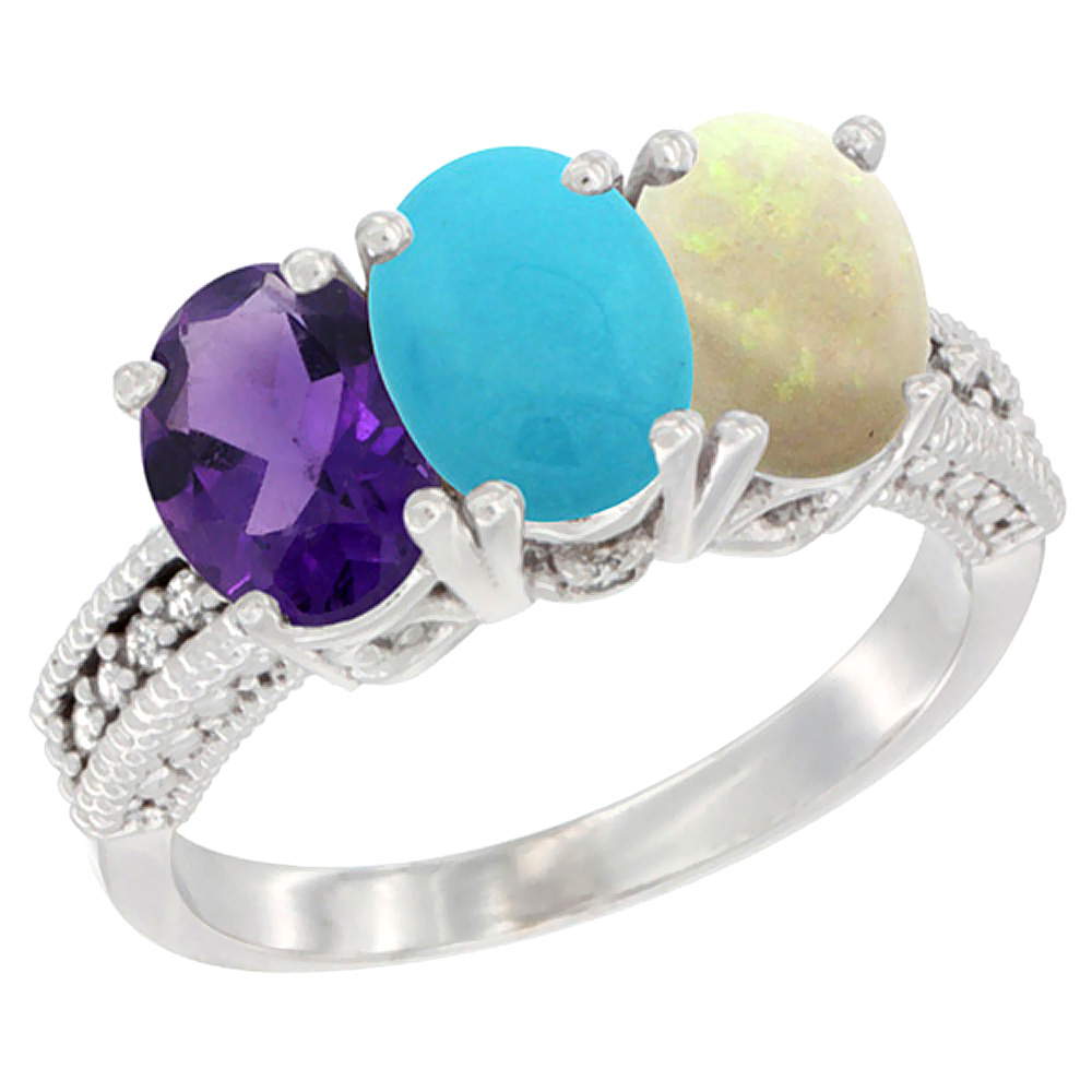 14K White Gold Natural Amethyst, Turquoise & Opal Ring 3-Stone 7x5 mm Oval Diamond Accent, sizes 5 - 10