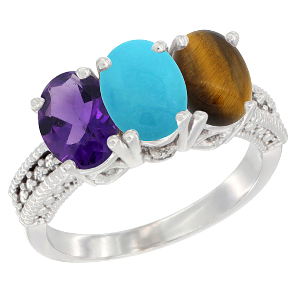 10K White Gold Natural Amethyst, Turquoise & Tiger Eye Ring 3-Stone Oval 7x5 mm Diamond Accent, sizes 5 - 10
