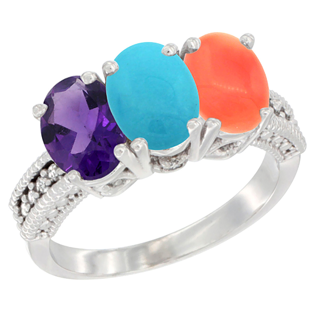 14K White Gold Natural Amethyst, Turquoise & Coral Ring 3-Stone 7x5 mm Oval Diamond Accent, sizes 5 - 10