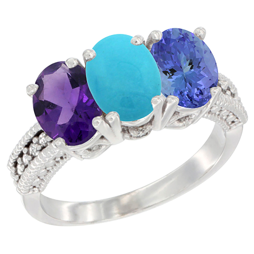14K White Gold Natural Amethyst, Turquoise & Tanzanite Ring 3-Stone 7x5 mm Oval Diamond Accent, sizes 5 - 10