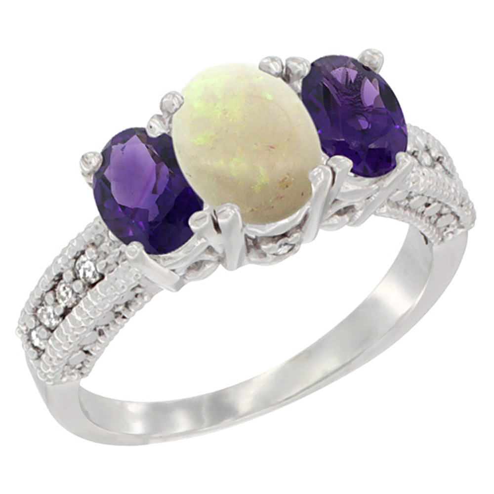 10K White Gold Diamond Natural Opal Ring Oval 3-stone with Amethyst, sizes 5 - 10