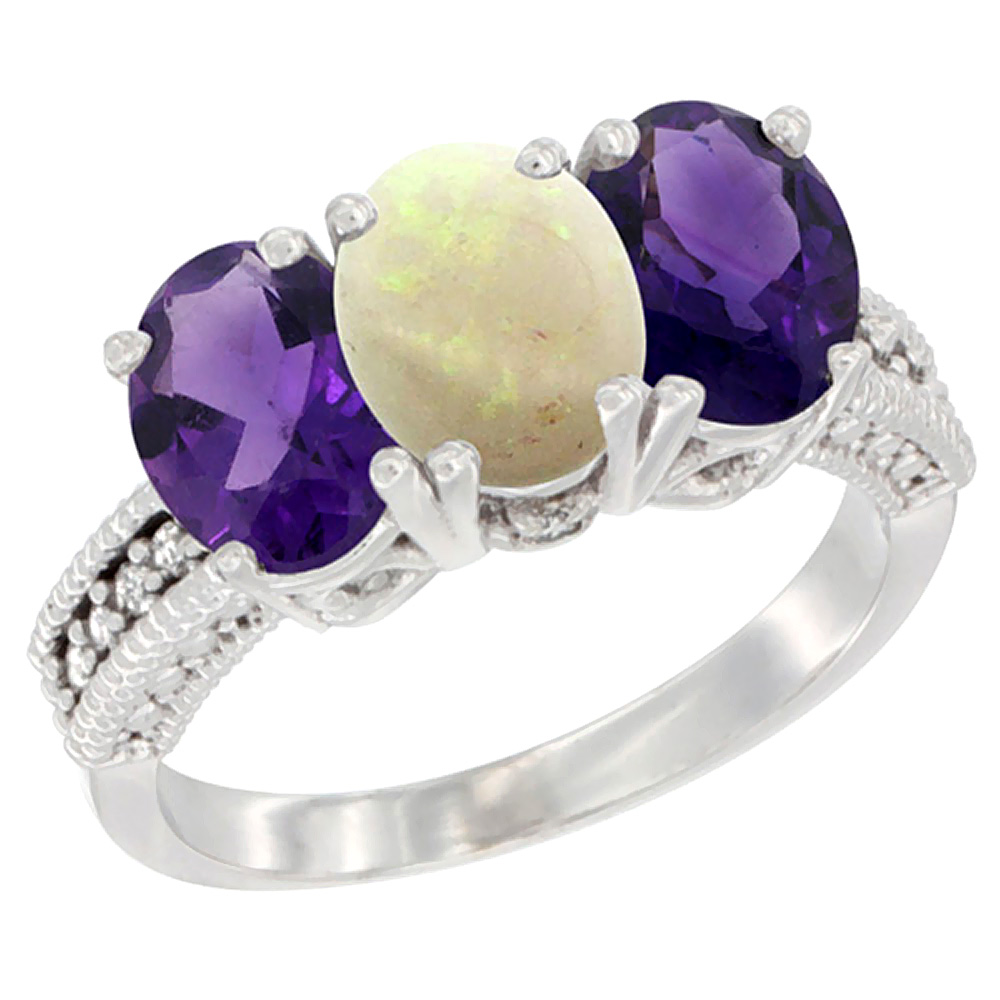 14K White Gold Natural Opal & Amethyst Ring 3-Stone 7x5 mm Oval Diamond Accent, sizes 5 - 10