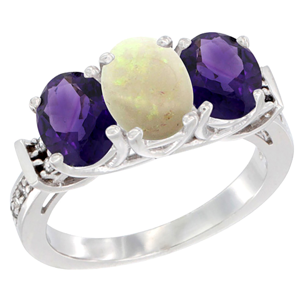 14K White Gold Natural Opal & Amethyst Sides Ring 3-Stone Oval Diamond Accent, sizes 5 - 10