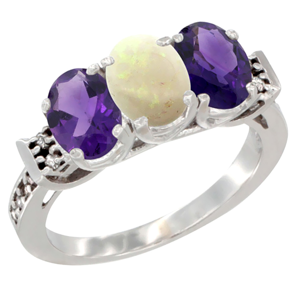 14K White Gold Natural Opal & Amethyst Sides Ring 3-Stone 7x5 mm Oval Diamond Accent, sizes 5 - 10