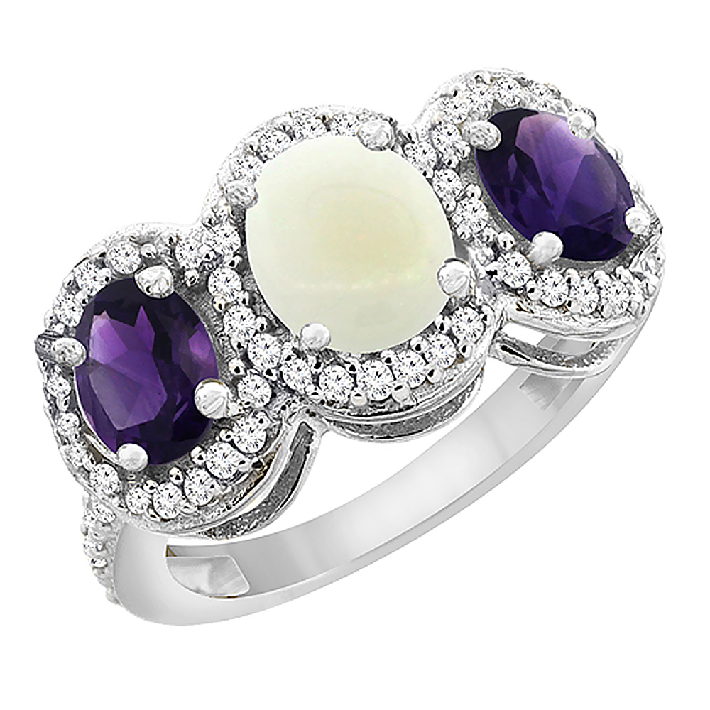 14K White Gold Natural Opal & Amethyst 3-Stone Ring Oval Diamond Accent, sizes 5 - 10