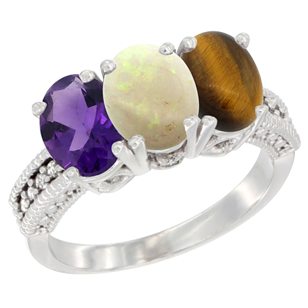 14K White Gold Natural Amethyst, Opal & Tiger Eye Ring 3-Stone 7x5 mm Oval Diamond Accent, sizes 5 - 10