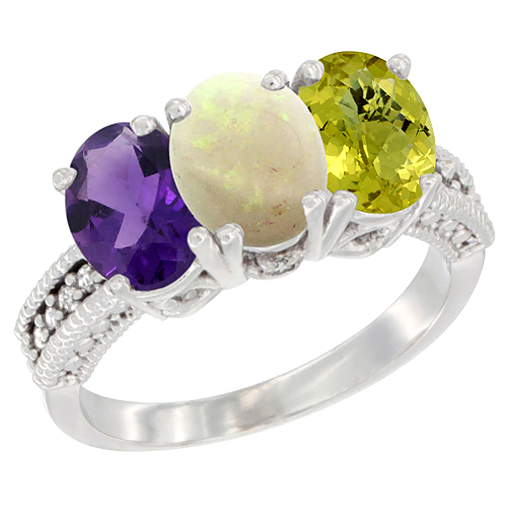 14K White Gold Natural Amethyst, Opal & Lemon Quartz Ring 3-Stone 7x5 mm Oval Diamond Accent, sizes 5 - 10