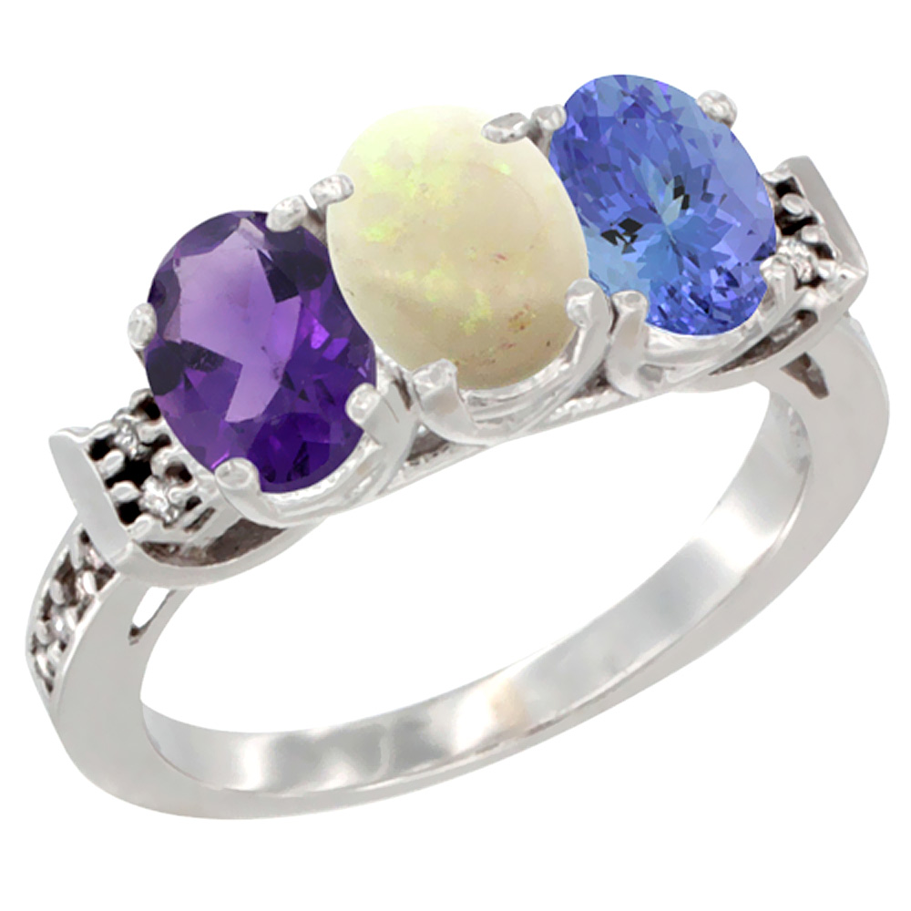 14K White Gold Natural Amethyst, Opal & Tanzanite Ring 3-Stone 7x5 mm Oval Diamond Accent, sizes 5 - 10