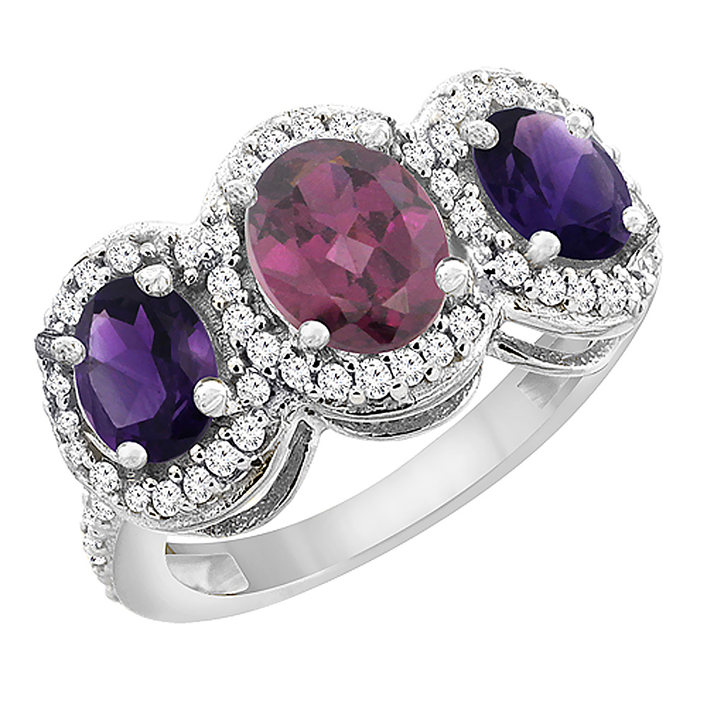 10K White Gold Natural Rhodolite & Amethyst 3-Stone Ring Oval Diamond Accent, sizes 5 - 10