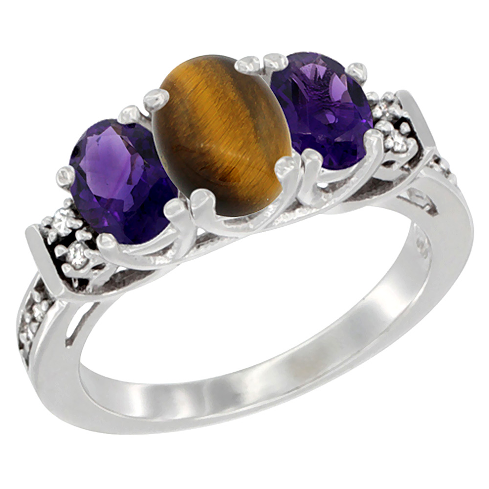 14K White Gold Natural Tiger Eye & Amethyst Ring 3-Stone Oval Diamond Accent, sizes 5-10
