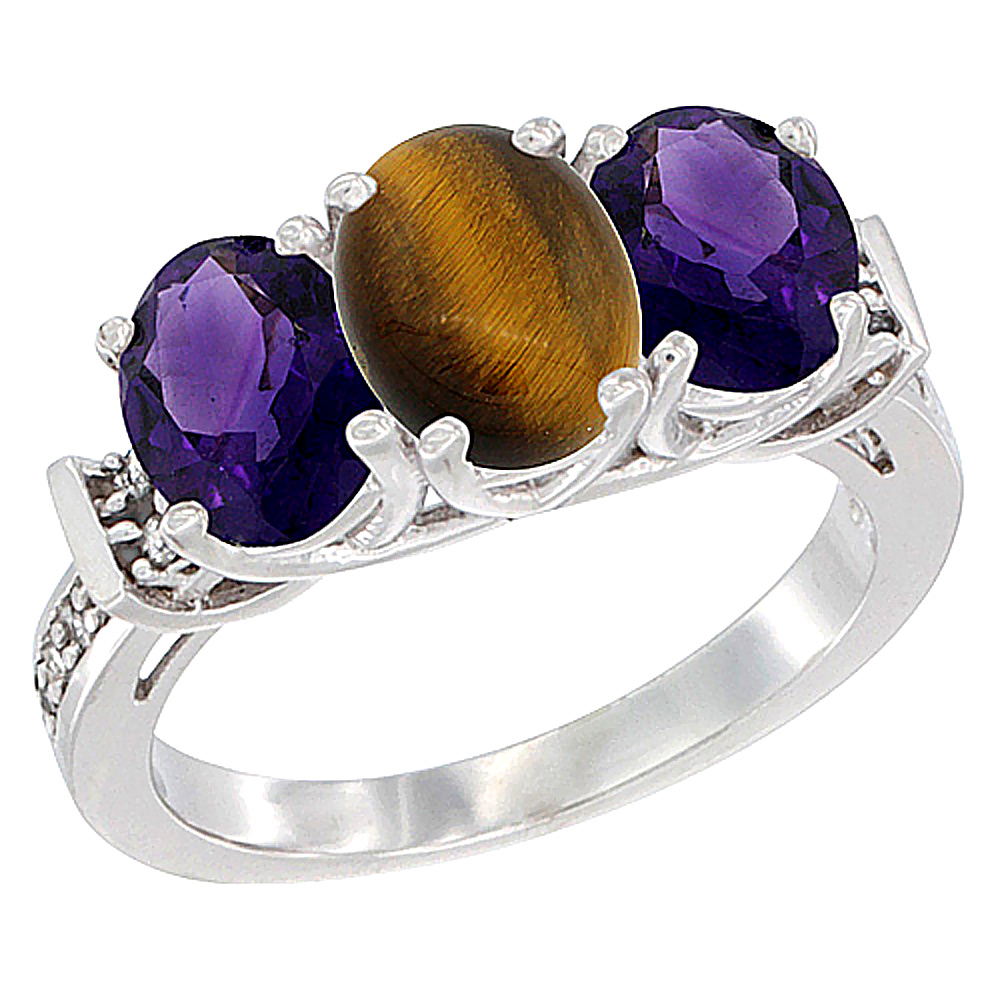 14K White Gold Natural Tiger Eye & Amethyst Sides Ring 3-Stone Oval Diamond Accent, sizes 5 - 10
