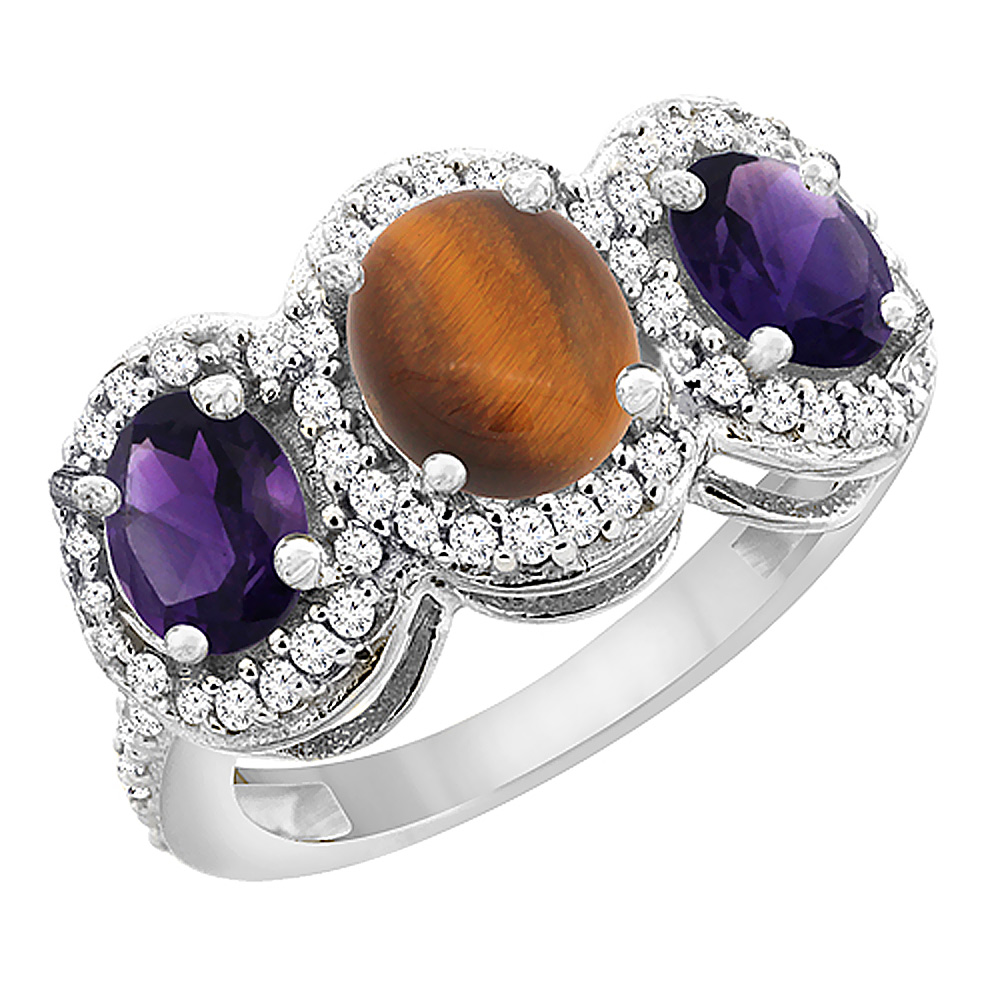 14K White Gold Natural Tiger Eye & Amethyst 3-Stone Ring Oval Diamond Accent, sizes 5 - 10