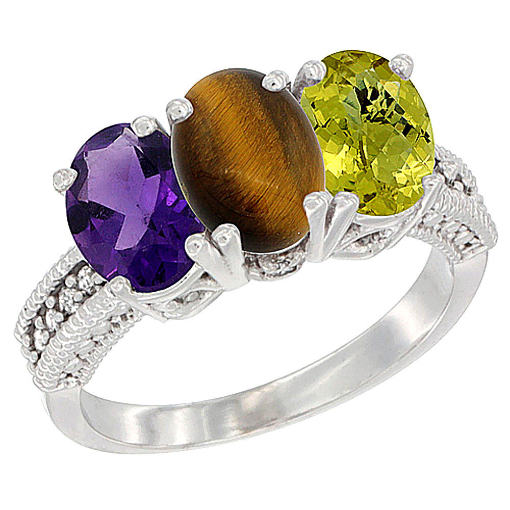 14K White Gold Natural Amethyst, Tiger Eye & Lemon Quartz Ring 3-Stone 7x5 mm Oval Diamond Accent, sizes 5 - 10