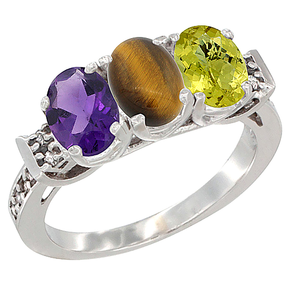 10K White Gold Natural Amethyst, Tiger Eye & Lemon Quartz Ring 3-Stone Oval 7x5 mm Diamond Accent, sizes 5 - 10