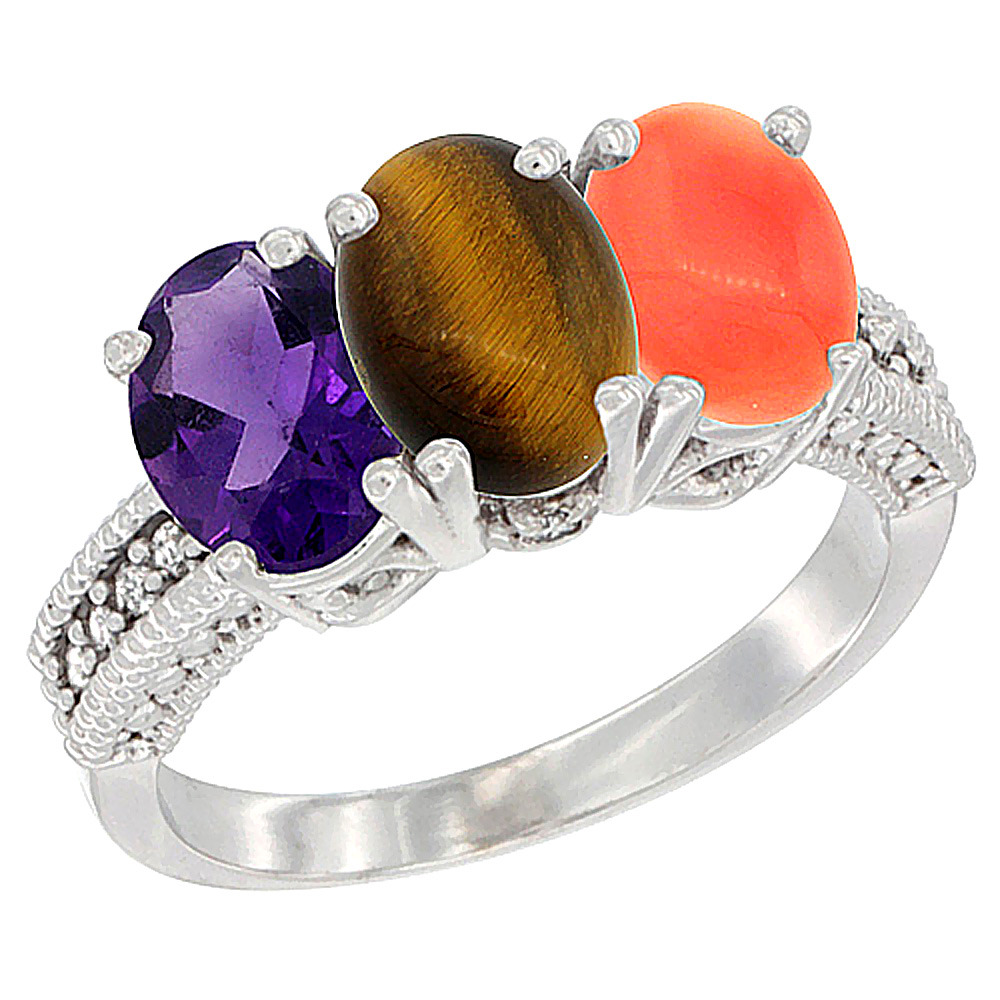 14K White Gold Natural Amethyst, Tiger Eye & Coral Ring 3-Stone 7x5 mm Oval Diamond Accent, sizes 5 - 10