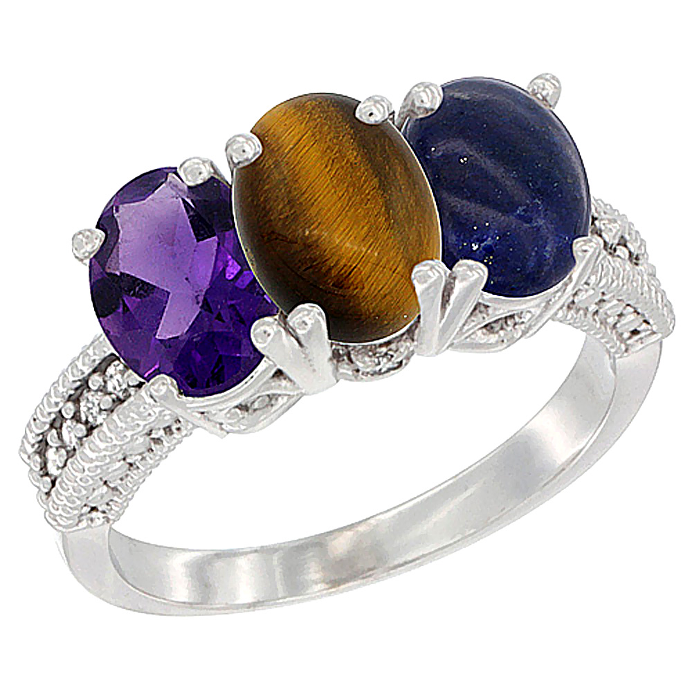 14K White Gold Natural Amethyst, Tiger Eye & Lapis Ring 3-Stone 7x5 mm Oval Diamond Accent, sizes 5 - 10