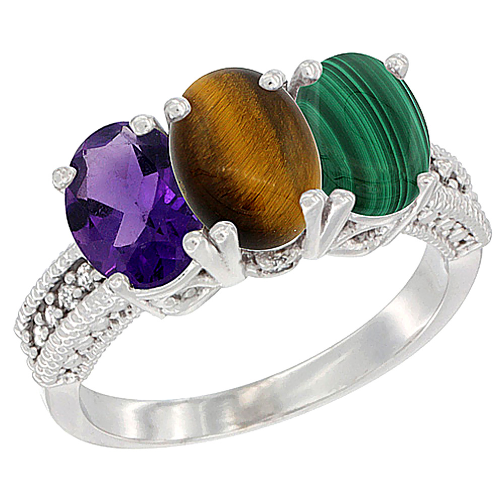 10K White Gold Natural Amethyst, Tiger Eye & Malachite Ring 3-Stone Oval 7x5 mm Diamond Accent, sizes 5 - 10